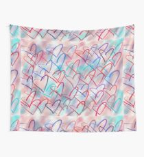 Lovely Hearts Hand Drawn Pastel Wall Tapestry