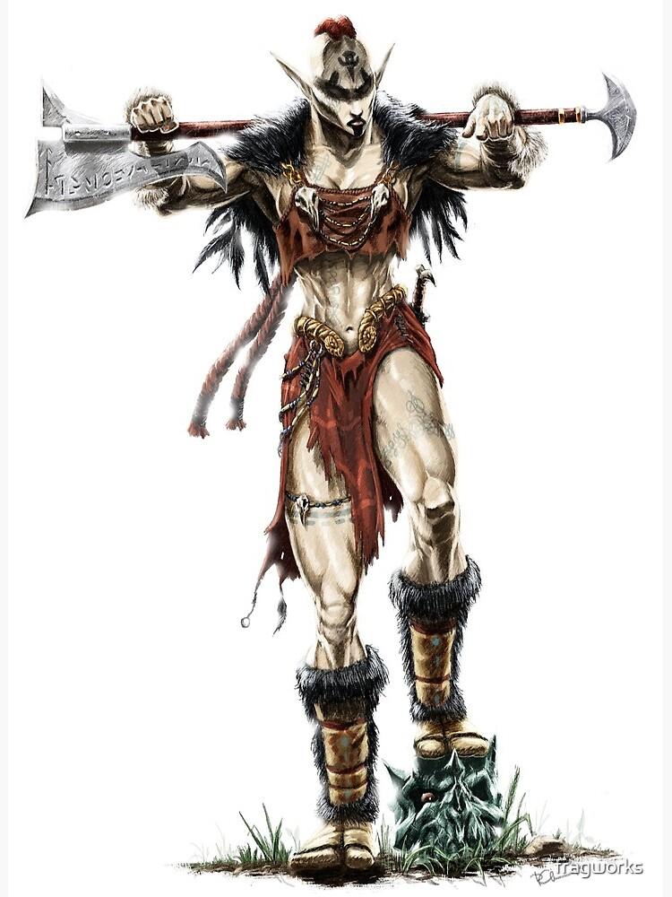 Elven Axe Warrior (Female) | Greeting Card
