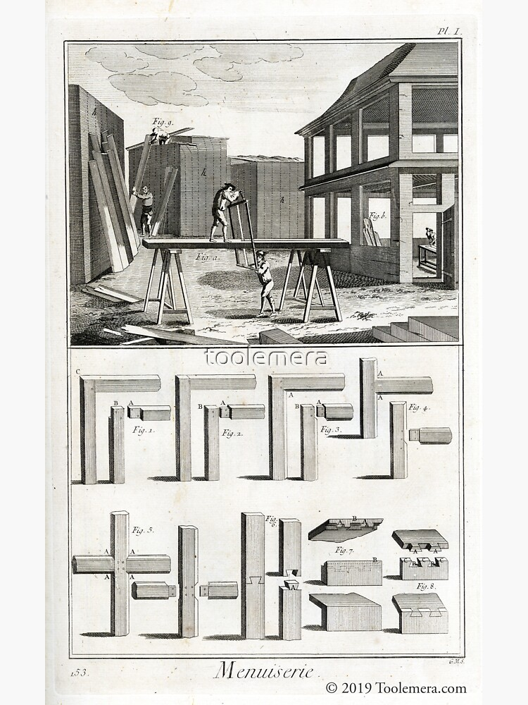 Diderot Encyclopedia 1765: Menuserie Carpentry Plate 1 by toolemera