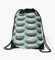 overcast beach Drawstring Bag