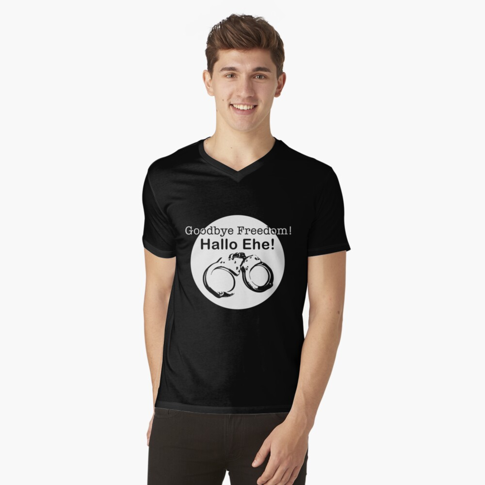 Goodbye Freedom Hello Marriage (w) V-Neck T-Shirt