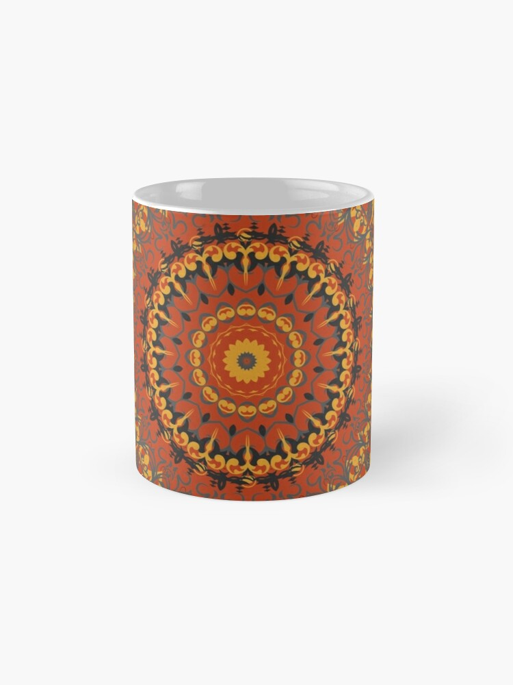 Alternate view of Autumn Leaves Rust Mandala Mugs