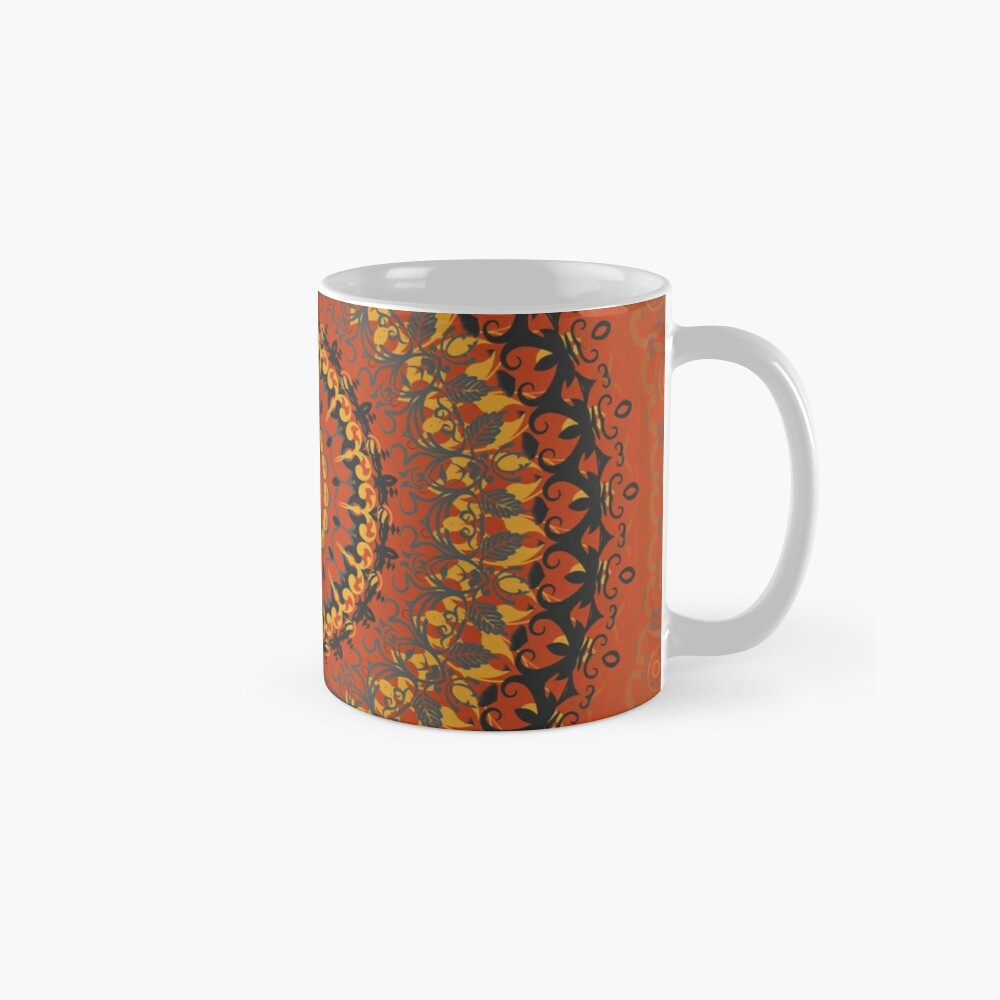 Autumn Leaves Rust Mandala Mugs