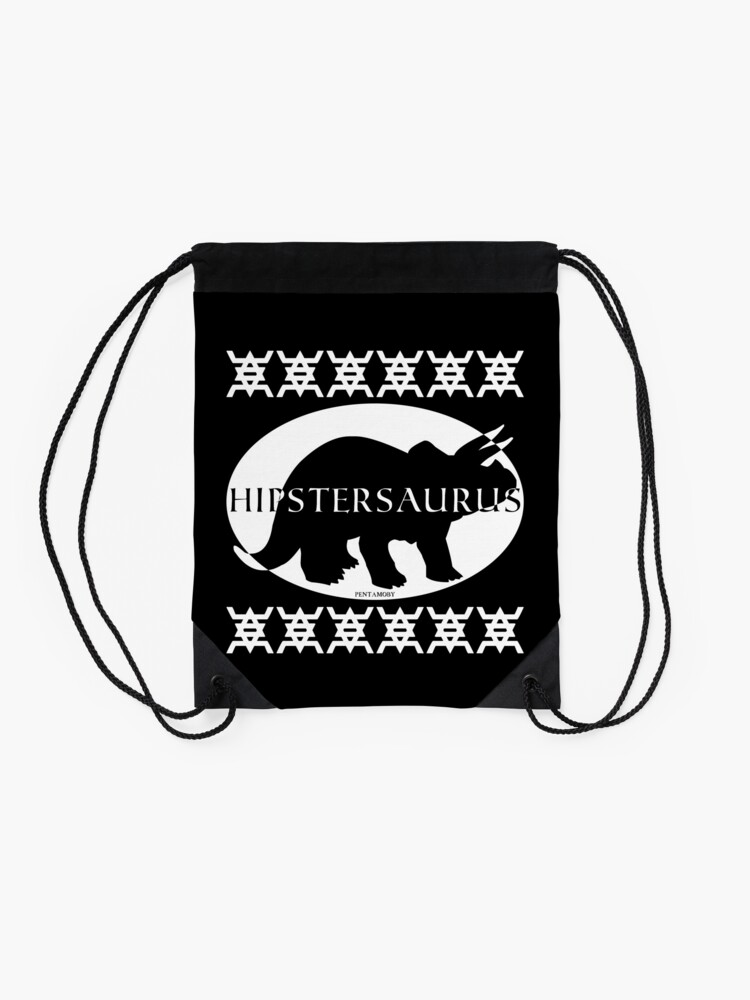 Alternate view of HIPSTERSAURUS (w) Drawstring Bag