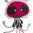 Red face skull Jellyfish Big eyes dot painting by See Foon