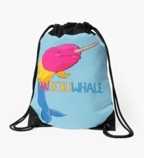 Pansexuwhale - with text Drawstring Bag