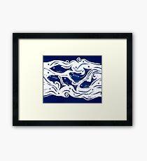 Fish linocut Framed Print