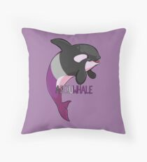 Asexuwhale - with text Throw Pillow