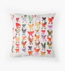 Tie Dye Chickens in Lines #1 Throw Pillow