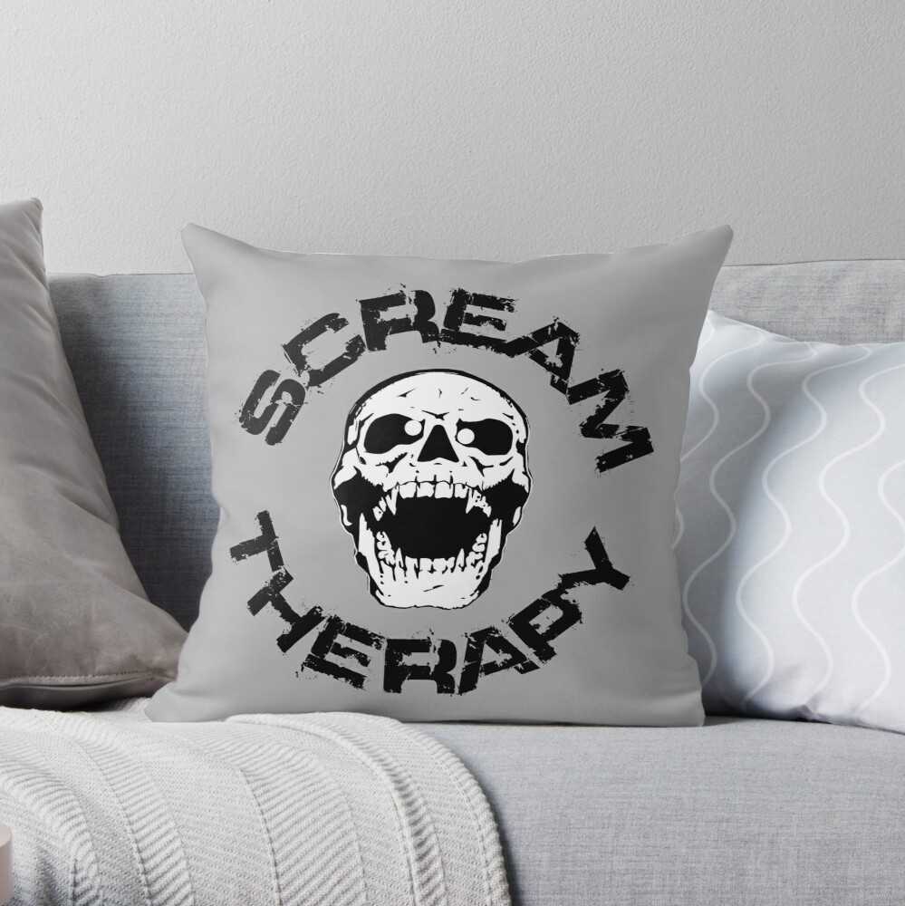 Scream Therapy - cross eyed skull filled Dekokissen