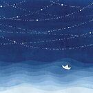 Girlande aus Sternen 2, blaues Aquarell von VApinx