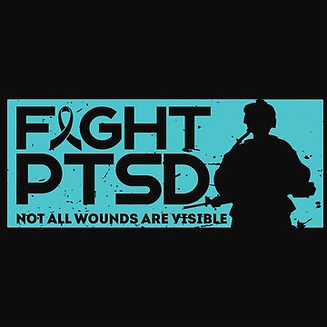 Military PTSD Awareness Teal Ribbon by normaltshirts