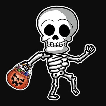 Funny Skeleton Halloween Trick or Treating by normaltshirts