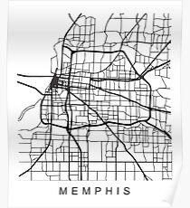 Memphis minimalistischer Stadtstraßenkarten-dunkler Entwurf Poster