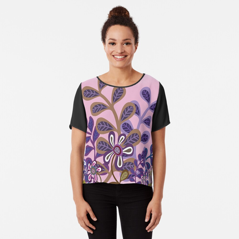 PLUM FOLIAGE Chiffon Top