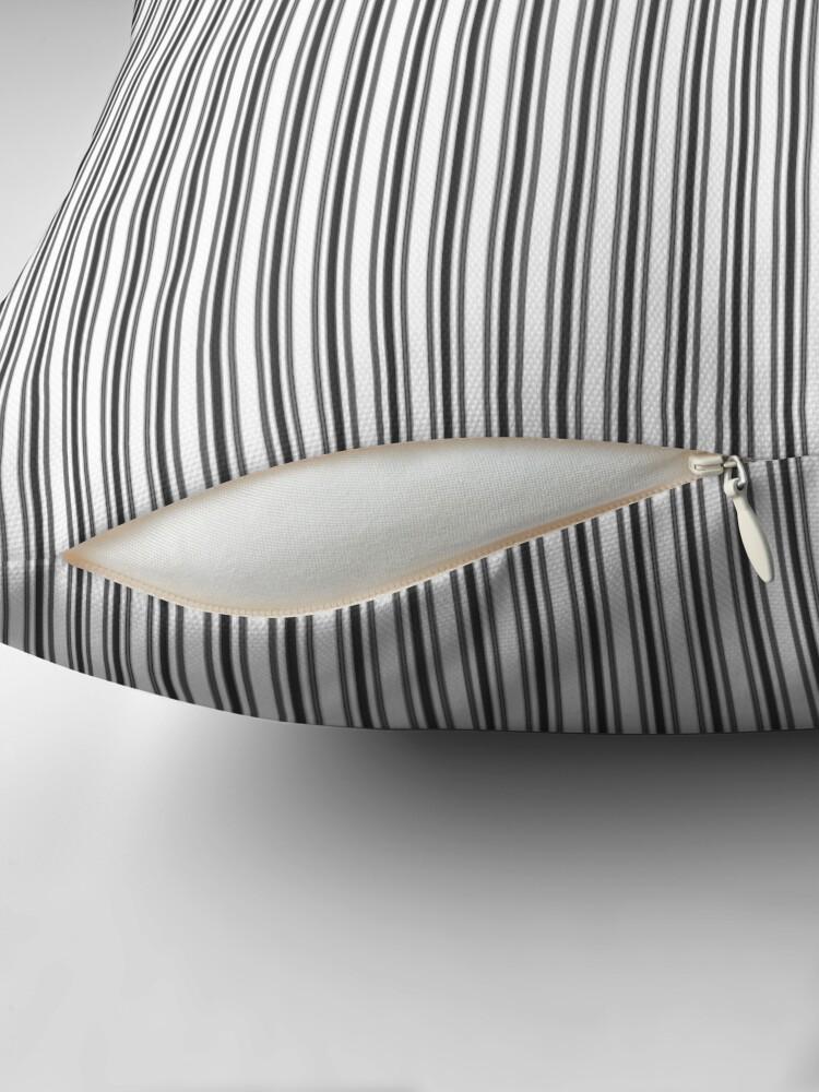 Alternate view of Trendy French Black and White Mattress Ticking Double Stripes Throw Pillow