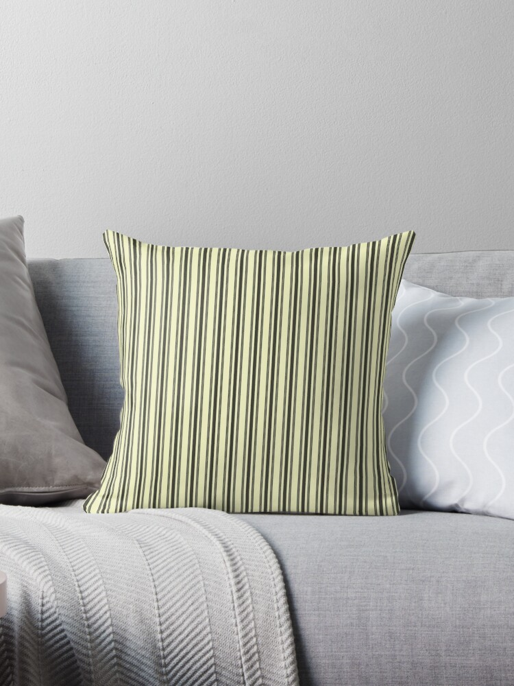 Large French Cream Mattress Ticking Black Double Stripes Throw Pillow By Honorandobey