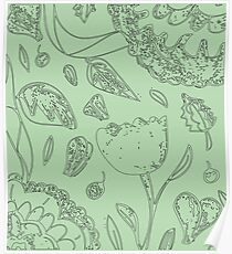 Illustrated Floral Pattern Poster