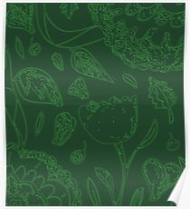 Green Illustrated Floral Pattern Poster