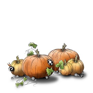 Autumn Pumpkin Patch with black and white Beetles by LMIllustrate