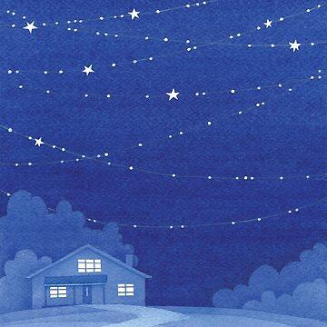 Haus mit Sternen, blaue Wasserfarbe von VApinx