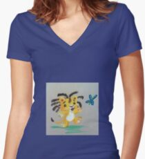 Lion Cub catches Butterfly Fitted V-Neck T-Shirt