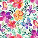 Summer Blooms & Butterflies on cream by micklyn