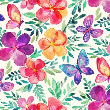 Floraciones de verano y mariposas en crema de micklyn