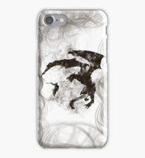 Dragonfight-cooltexture B&W iPhone Case/Skin