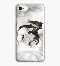 Dragonfight-cooltexture B&W iPhone Case/Skin