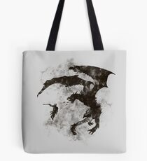 Dragonfight-cooltexture B&W Tote Bag