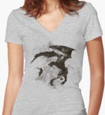 Dragonfight-cooltexture B&W Women's Fitted V-Neck T-Shirt