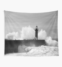 Lighthouse in stormy ocean Wall Tapestry