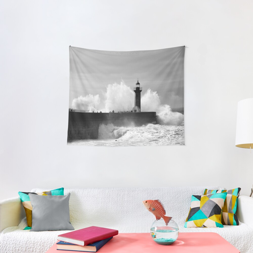 Lighthouse in stormy ocean Tapestry