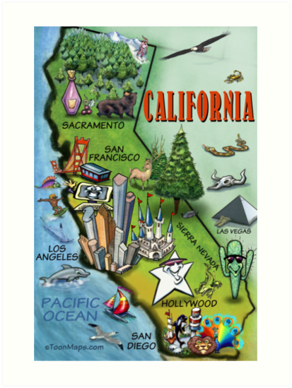 California Map Cartoon.California Cartoon Map Art Prints By Kevin Middleton Redbubble