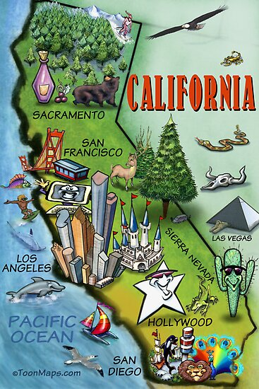 California Map Cartoon.California Cartoon Map Posters By Kevin Middleton Redbubble
