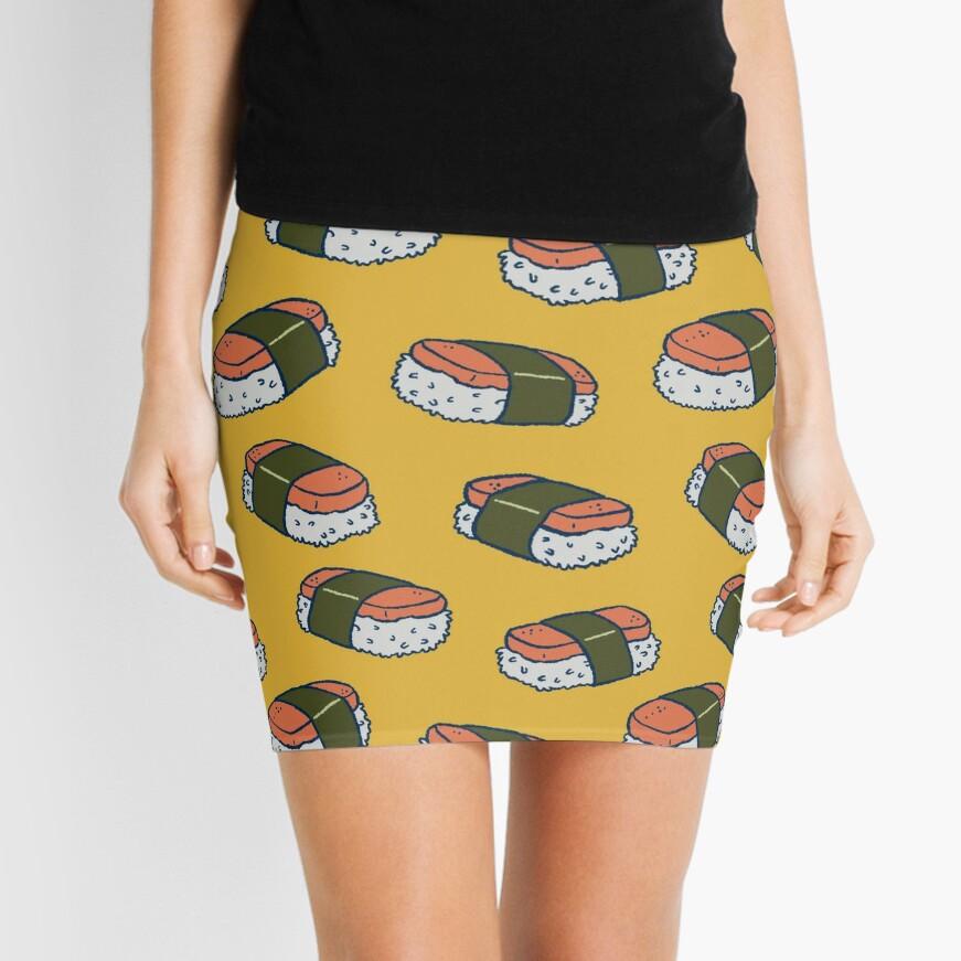 Spam Musubi Sushi Pattern Mini Skirt