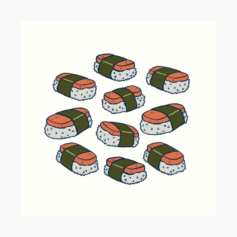Spam Musubi Sushi Pattern Art Print