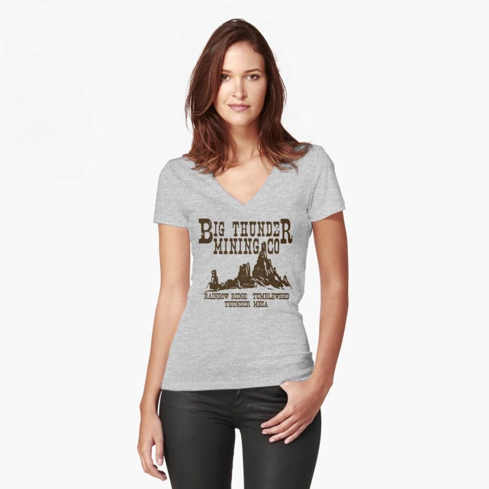 Big Thunder Mining Co Tailliertes T-Shirt mit V-Ausschnitt