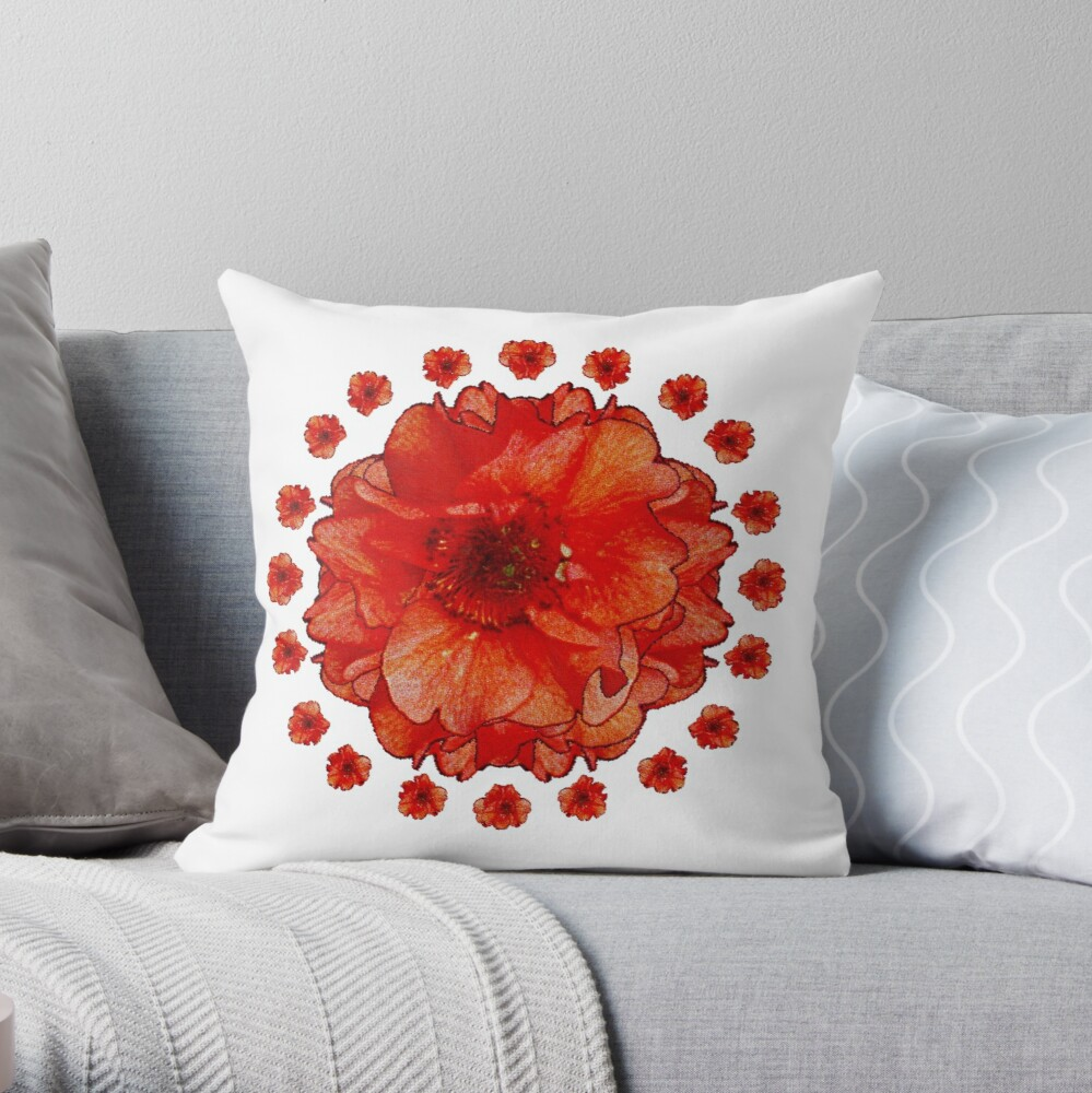 Poppy Field Mandala Throw Pillow