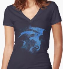 Dragonfight-cooltexture Inverted Women's Fitted V-Neck T-Shirt
