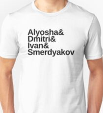 Dostoevsky The Brothers Karamazov & List: Alyosha & Dmitri & Ivan & Smerdyakov, in black lettering Slim Fit T-Shirt