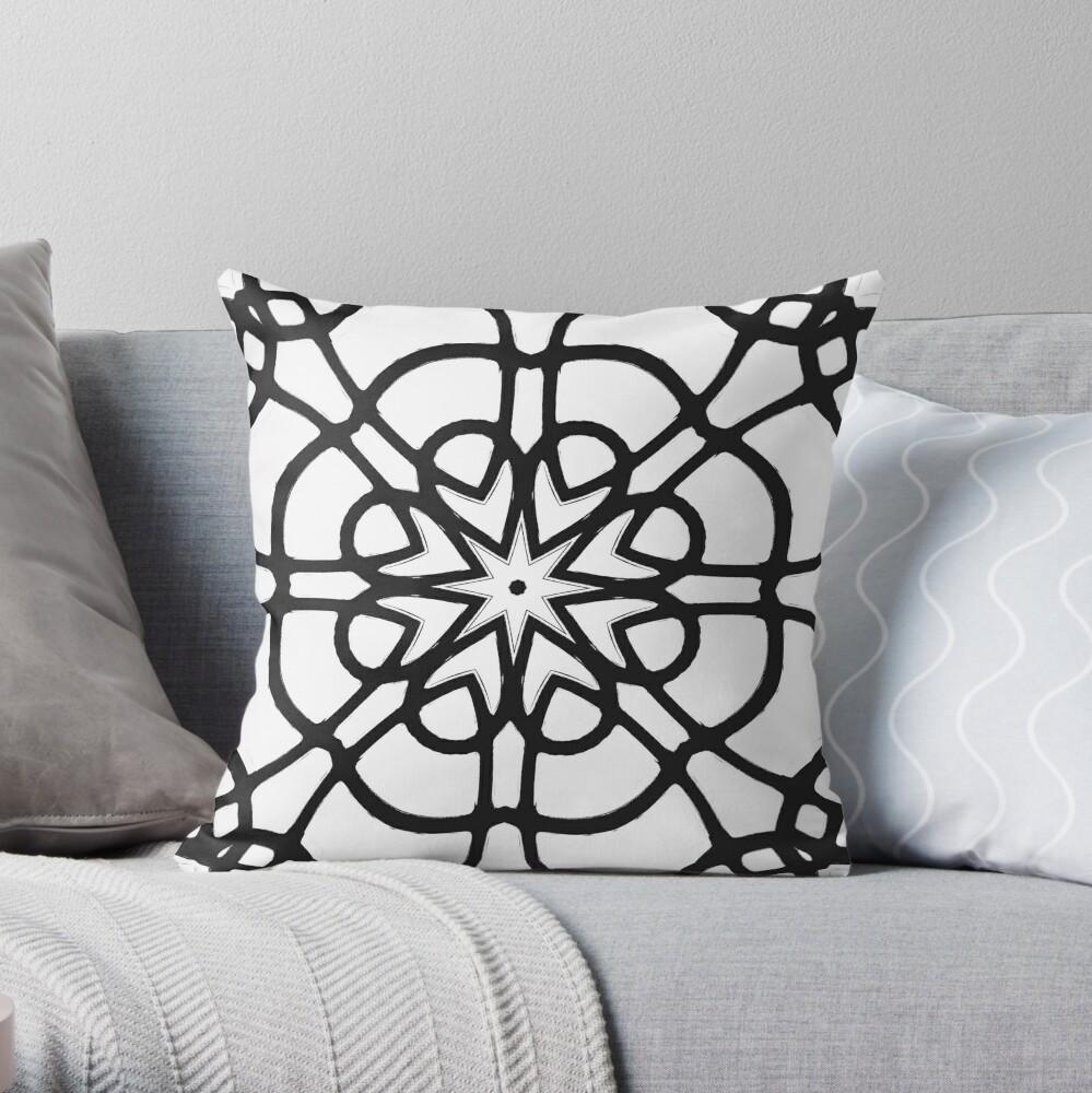 Monochrome One - Black and White Mandala Art Throw Pillow