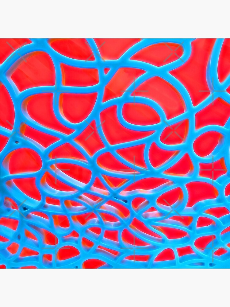 Red and Turquoise Maze - Abstract Art Photography by OneDayArt