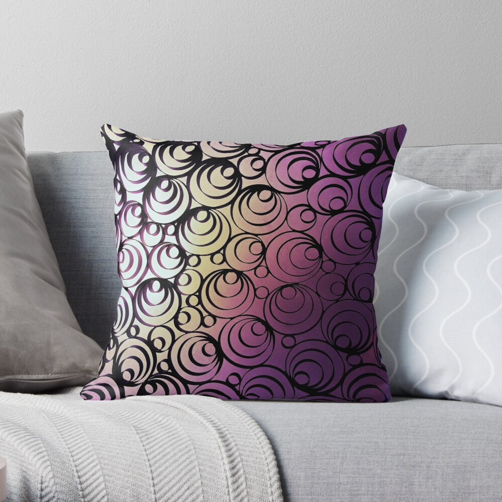 Groovy Circles - Psychedelic Geometric Art Photography Throw Pillow