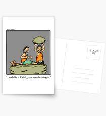 Lustiger medizinischer Höhlenbewohner-Anästhesiologe-Cartoon-Kunst Postkarten