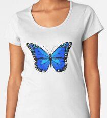 Camiseta premium de cuello ancho Mariposa azul
