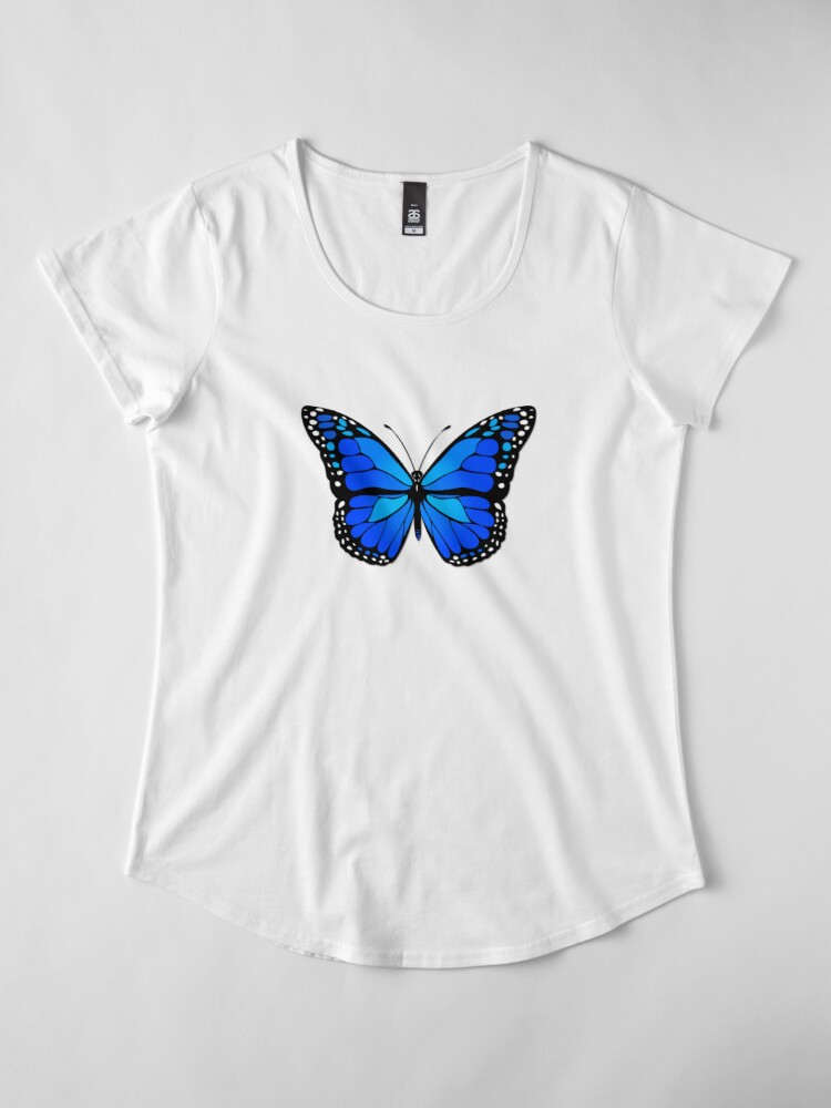 Alternative Ansicht von Blauer Schmetterling Premium Rundhals-Shirt