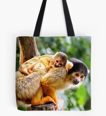 Squirrel Monkey and Clinging Infant Tote Bag