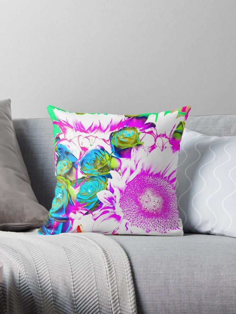 Flower Lovers Gift - Neon Bouquet Design by OneDayArt